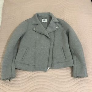 Ponte Gray Moto Jacket Size M Old Navy NWOT